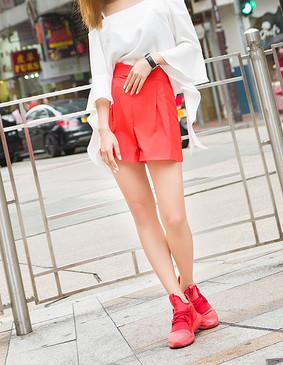 服装积分兑换 YCBQ6-296 高腰修身阔腿短裤 红色 L