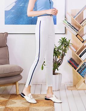 服装积分兑换 YCCQ-509 款式竖条压胶撕边打底裤 白色 S