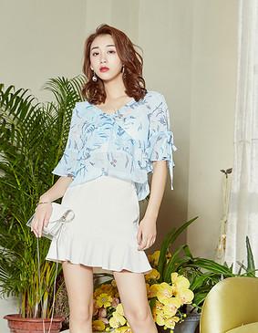 YCAB-005 树纹印花雪纺衫(赠送冰丝文胸) 蓝色 L