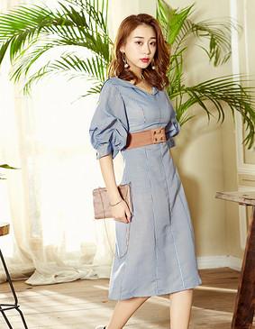YCAB-009 立体显瘦条纹连衣裙 蓝色 L