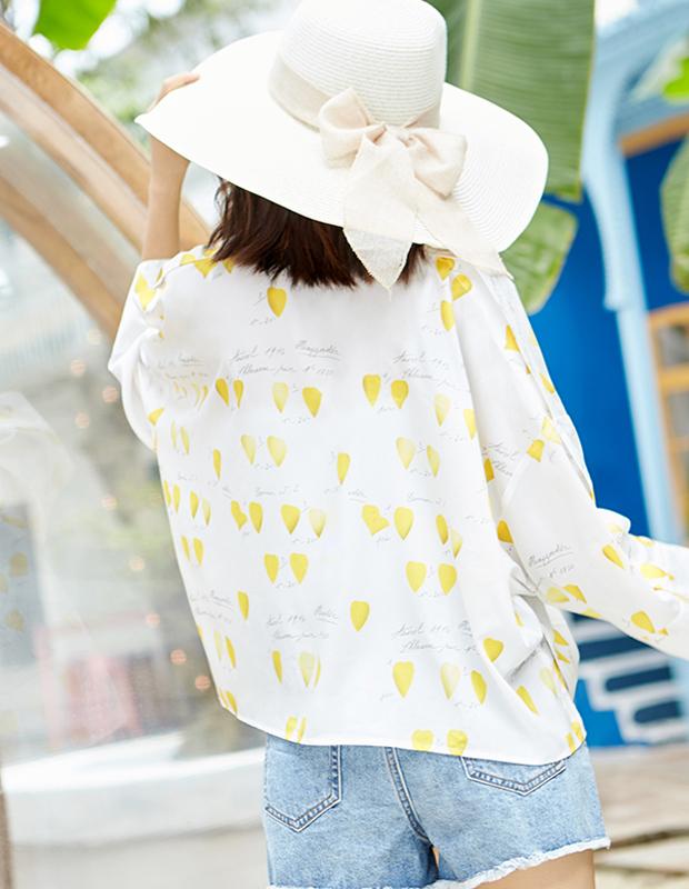 【伊霓裳】YCAB-028 清爽一夏露肩印花衬衫